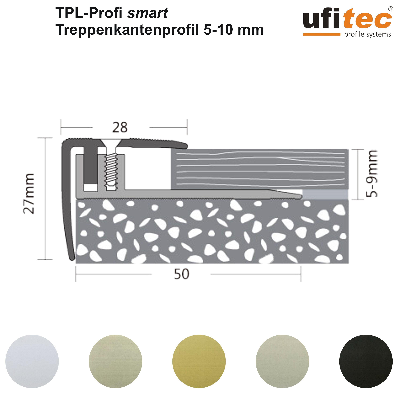 ufitec/® Profi Smart Profilsystem f/ür Vinylb/öden geeignet f/ür Belagsh/öhen von 5-9 mm Bronze Dunkel - Abschlu/ßprofil - L/änge: 90 cm, Bronze Dunkel ALU eloxiert